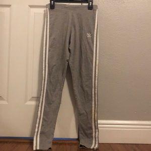 white and gray adidas leggings